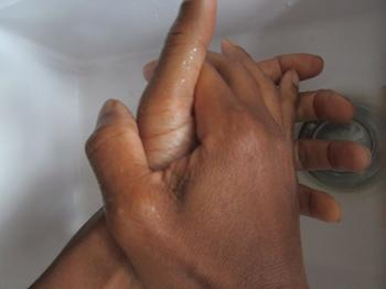 Washing Hands With Soap Before Working With Food
